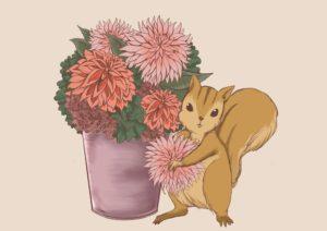 りすとお花